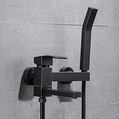 ZYDSN Grifo de bañera - Grifo de Ducha con Ducha de Mano, Mezclador de baño de latón Mono-Control Montaje de Pared con Soporte y Flexible 1.5m, para baño, Estilo Moderno,B