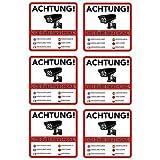 6 Achtung Videoüberwachung Premium Aufkleber – Schild – Sticker |Hinweisschild – Warnschild für mit Kamera videoüberwachtes Objekt – Haus – Gelände| Kratz- wetterfest|10 x 10...