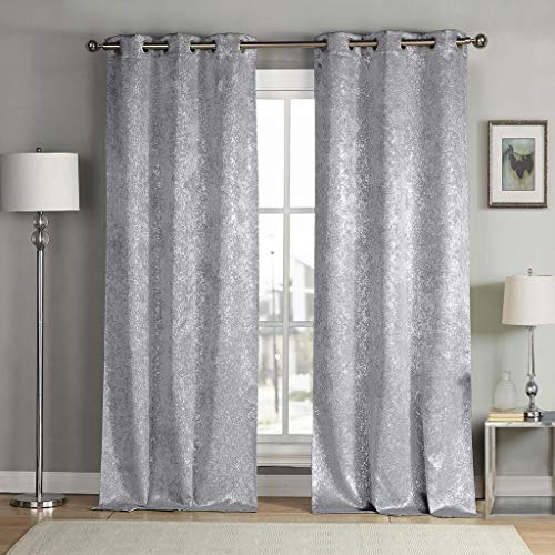 kensie 2 Pack Sparkle Metallic Thermal Insulated Blackout Grommet Top Curtain Panels, W38 X L96, Silver