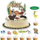 KINSEN - Juego de 36 piezas para decoración de tartas, cumpleaños infantiles, diseño de jungla