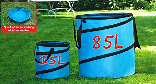 Ks 2-er Pop-Up Gartenabfallsack 85L+15L Gartensack Gartentasche Laubsack Rasensack (Türkis)