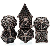 cusdie Metal Dice with Metal Box, 7 PCs DND Metal Dice, Dagger Design Polyhedral Dice Set, for Role Playing Game D&D Dice MTG Pathfinder (Red Copper)