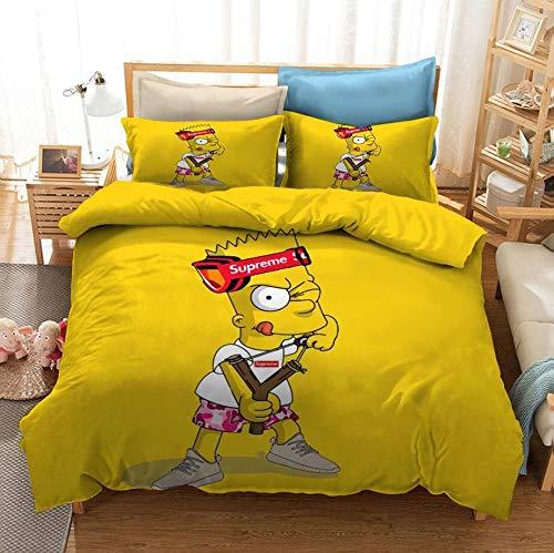 ZPYHJS Juego de Ropa de Cama con Funda nórdica 3D de animación para niños de los Simpson, Adecuado para niños, niñas, Ropa de Cama Suave y cómoda Textiles para el hogar-C_210x210cm (3 pcs)