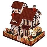 XZJJZ Rompecabezas Miniatura casa de muñecas DIY Kit de la Serie de Flores Town Houses Accesorios de Las muñecas con Muebles LED Mejor Regalo de cumpleaños for Mujeres y niñas