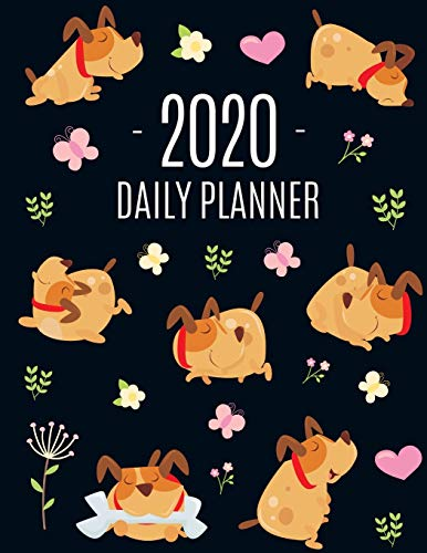 Happy Dog Planner 2020: Funny January - December Daily Organizer | Large Agenda Scheduler: for School, Appointments, Work or Office | Cute Year ... with Butterflies, Yellow Flower & Hearts