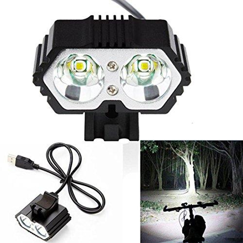Sannysis 6000LM 2 X CREE XM-L T6 LED Lámpara Impermeable USB Faros Delanteros de Bicicletas (Negro)