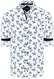 Tarocash Men's Dante Stretch Print Shirt Regular Fit Long Sleeve Sizes XS-5XL for Going Out Smart Occasionwear