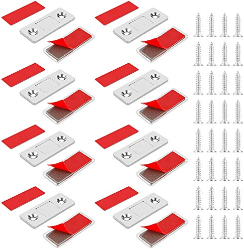 Jooheli Schrank Magnet, Magnetschnäpper 8 Stück Ultra Dünn Magnetverschluss Magnetschnapper Tür Schublade Magnet für Verschluss Schnapper Türmagnet Türen Möbelmagnete für Küchenschrank Magnetschloss