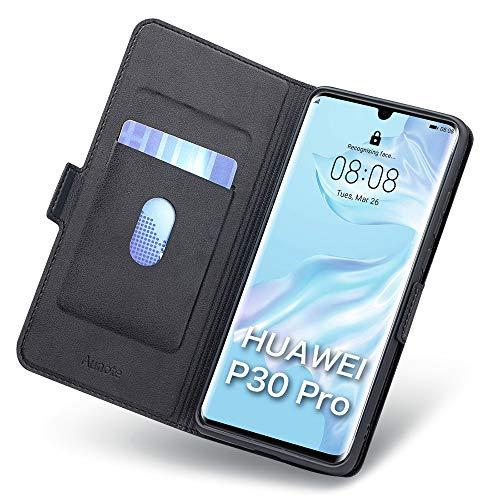 Funda Huawei P30 Pro, Funda P30 Pro Libro, P30 Pro Funda, Carcasa P30 Pro con Cierre Magnético, Tarjetero y Suporte, Cubierta Plegable Cartera, Flip Cover Case, Tipo Étui Piel Protección. Negro