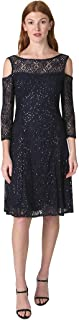 Marina Women's 3/4 Sleeve Cold Shoulder Sequin Lace Fit & Flair Dress