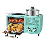 FHTD Máquina de Desayuno 4 en 1, estación de Desayuno multifunción, máquina de sándwich a la Parrilla eléctrica, sartén, Mini Horno, para Tostadas Fritas, Pizza,A