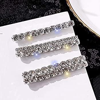 Tzoxal Luxury Hair Clips for Women Bling Rhinestones Hairpins Barrettes White Sparkly Hairgrip Hair Headwear Accessories for Party Wedding Daily
