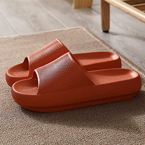 LLGG Zehentrenner für Damen und Herren,Badezimmer Badesandrant, rutschfeste Stummscheibe-Chiang Tee orange_35-36,Sommer Flach Bade Schlappen