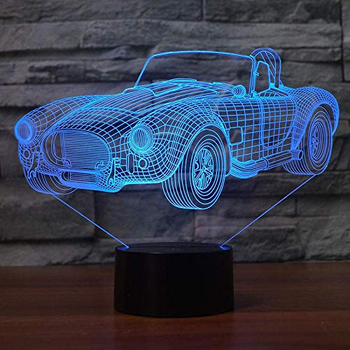 Lámpara de ilusión 3D Luz de noche LED Forma de coche clásico 7 colores de cambio Interruptor táctil para decoración del hogar Lámpara de mesa El mejor regalo de vacaciones de cumpleaños para niñ
