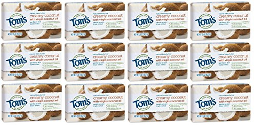 Tom's of Maine Natural Beauty Bar Soap with Virgin Oil and Coconut, Bar Soap, Soap, Creamy Coconut, 1.35 Ounce, 12-pack