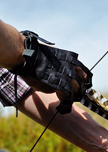 Battle-Merchant Schießhandschuh Traditional Bogenhandschuh aus Leder Größe S/M oder L/XL LARP Bogenschützen Mittelalter Handschuh (S/M)