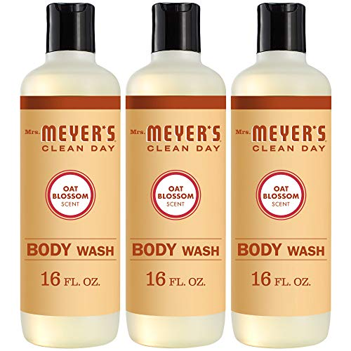 Mrs. Meyer's Clean Day Moisturizing Body Wash for Women and Men, Cruelty Free and Biodegradable Shower Gel Made with Essential Oils, Oat Blossom Scent, 16 oz Bottle, Pack of 3