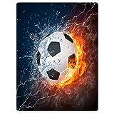 YISUMEI Decke 150x200 cm Kuscheldecken Sanft Flanell Weich Fleecedecke BettüberwurfSport-Serie Soccer Fußball Feuer Blitz