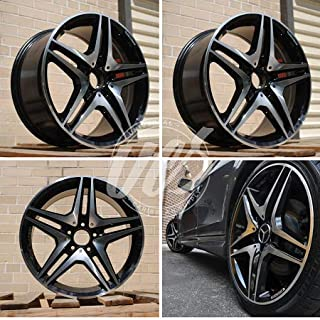 New 19 inch x 8.5 Wheels Rims CL63 AMG Double Spokes Style 5 lug Black Machined Face compatible with Mercedes Benz Wheels Rims Series CLS63 CLS500 CLS550 CLS55 Set of 4