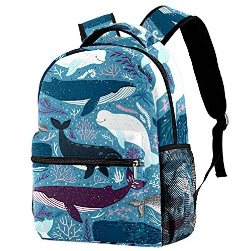 Children School Bag Kids Backpack Lightweight Bookbag Teens Daypack Outdoor Whales Marine Mammals for Boys Girls Preschool Travel 11.5x8x16in