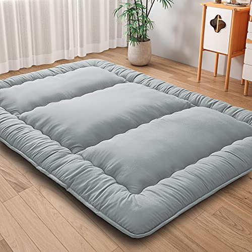 Japanese Floor Mattress Futon Mattress, Thicken Tatami Mattress Sleeping Pad Foldable Mattress Dormitory Mattress Pad Kids Floor Lounger Bed Couches,Twin,Grey