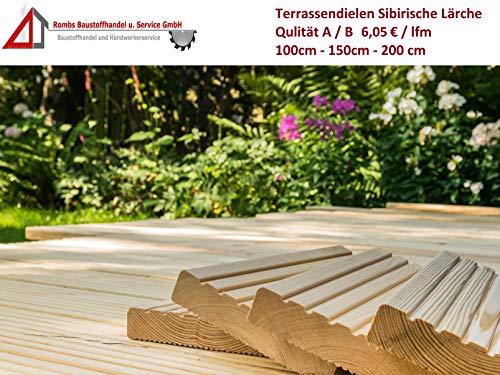 6,05€/lfm Terrassendiele sibirische Lärche Massivholz Gartenholz Terrassenholz Naturholzdielen Massivdiele (fein, 200)