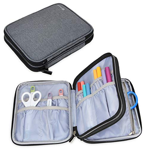 Yarwo Carrying Bag for Cricut Accessories, Organizer Case for Cricut Pen Set and Basic Tool Set Storage, Gray Color, Bag Only
