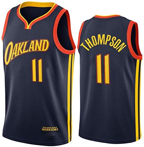 Baloncesto De Los Hombres NBA Jersey Warriors 11# Thompson Transpirable Quick Secking Sin Mangas Vestima Top para Los Deportes,Negro,M