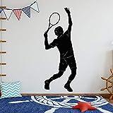 wZUN Jugador de Tenis Silueta Pegatina de Pared Tenis Deportes Pegatina hogar Dormitorio Arte de la Pared decoración 57X144cm