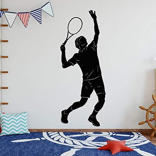 wZUN Jugador de Tenis Silueta Pegatina de Pared Tenis Deportes Pegatina hogar Dormitorio Arte de la Pared decoración 68X172cm