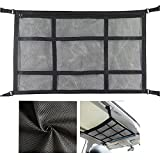 Car Ceiling Storage Net, 31'x21' Adjustable Double-Layer Mesh SUV/Car Cargo Net Pocket, Double Zipper Storage Net for Tent Quilt Children's Toy Towel Sundries, Car Travel Accessories for Long Trips