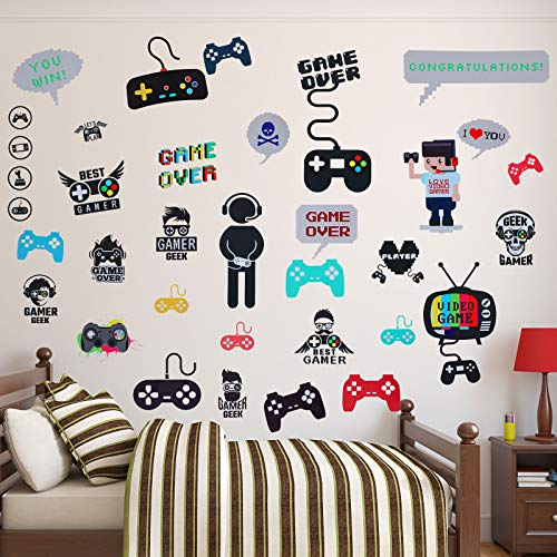 Outus 36 Pieces Video Game Wall Decals Gaming Controller Wall Stickers Removable DIY Cartoon Party Wallpaper for Playroom Bedroom Living Room Decor