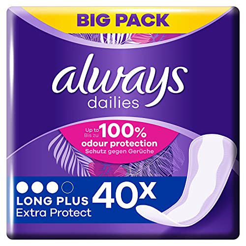 Always Dailies Slipeinlagen Damen Long Plus Extra Protect (40 Einlagen), Giga Pack, Atmungsaktiv, Flexibel & Bequem, Mit Saugfähigem Kern