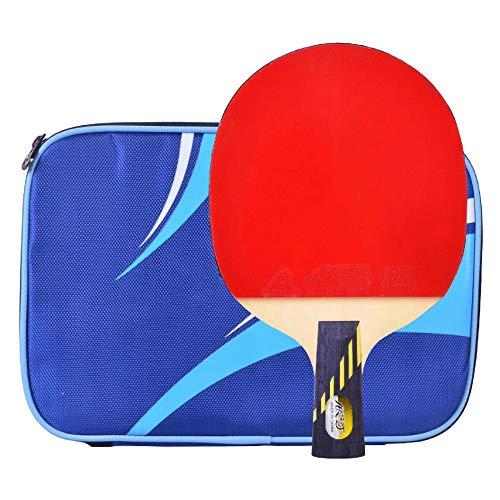 Lerten Palas de Ping Pong,Bate de Tenis de Mesa Raqueta Ofensiva de 9 Estrellas con Bolsa de Almacenamiento PortáTil Adecuada para Estudiantes Principiantes/A/Mango corto