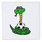 3dRose Funny Cute Greeen Python Snake Squeezing Soccer Ball Cartoon - Quilt Squares (qs_325793_10)