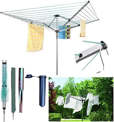 Tendedero giratorio BISEN de 50 m con 4 brazos, tendedero de ropa para jardín al aire libre con estaca a prueba de agua
