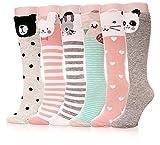 Color City Girls Socks Knee High Stockings Cartoon Animal Warm Cotton Socks(6 Pairs Animal)