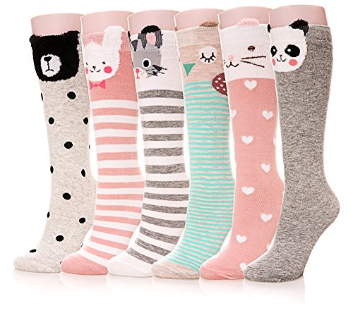 Color City Girls Socks Knee High Stockings Cartoon Animal Warm Cotton Socks(6 Pairs Animal)