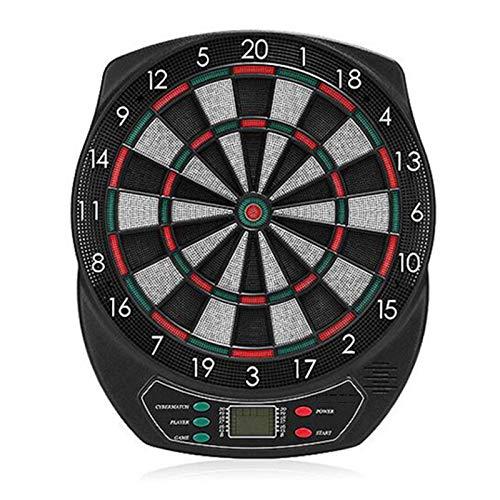 Diana electrónica, Juegos de Diana, 21 Juegos y 65 Variantes de Juego,Pantalla LED Scoring Indicator Target Board con 6 Dardos para 8 Jugadores,Black