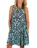 Swing Dress, Tanst Ladies Sleeveless Crew Neck Printed Sleeveless Casual Summer Swing Tee Shirt Dresses with Pockets Vintage Relaxed Fit Long Tunic Tank Tops Blue XL