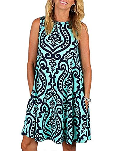 Summer Dresses for Women,Tanst Juniors O Neck Sleeveless Fit Stretch Flare Flowy Print Tunic Tank Knee Length Dress Hawaii Flattering Shift with Pockets Blue M