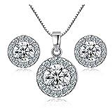 H-vuality-C New 925 sterling Silver Crystal collana matrimonio orecchini Jewelry Set charm da donna 1 set (L)