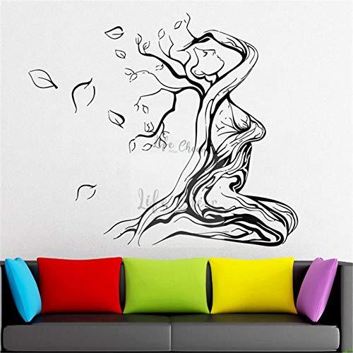 LSMYE Yoga Baum Mädchen Wand Vinyl Aufkleber Home Dekoration Leben Baum Wachstum Wandtattoo Sexy Mädchen Wandtattoos Poster braun 57X66cm