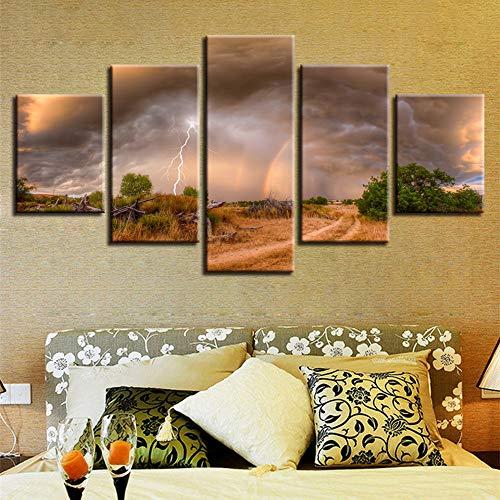 Modern Home Decor HD 5 Piezas Frame Sky Balloon Landscape Art Decor Canvas Painting Bedroom Living Room Mural