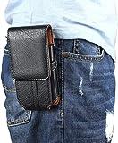 """Sacchetto Clip da Cintura per Smartphone, Moon mood 6.3"""" Universale Verticale Borsello da Uomo Sacchetto in PU Pelle Waist Bag Belt Pouch Cover per iPhone X 7 8 Plus Samsung S9 S8 Huawei P8 P9 Lite"""