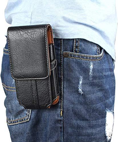 Sacchetto Clip da Cintura per Smartphone, Moon mood 6.3' Universale Verticale Borsello da Uomo Sacchetto in PU Pelle Waist Bag Belt Pouch Cover per iPhone X 7 8 Plus Samsung S9 S8 Huawei P8 P9 Lite