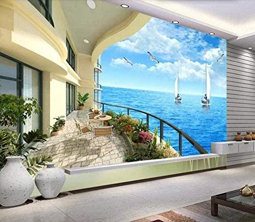 Sea Villa Balkon View Wallpaper 3D Vlies Tapeten Wandbilder Wohnzimmer Schlafzimmer Wanddekoration 3d Tapete Wanddekoration fototapete wandbild Schlafzimmer Wohnzimmer-150cm×105cm