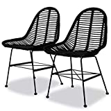 Cikonielf 2 Stück Gartenstuhl aus natürlichem Rattan, Stuhl aus Rattan, mit Beinen aus Schmiedeeisen, für Esszimmer, Wohnzimmer, 49 x 56 x 84 cm, Schwarz