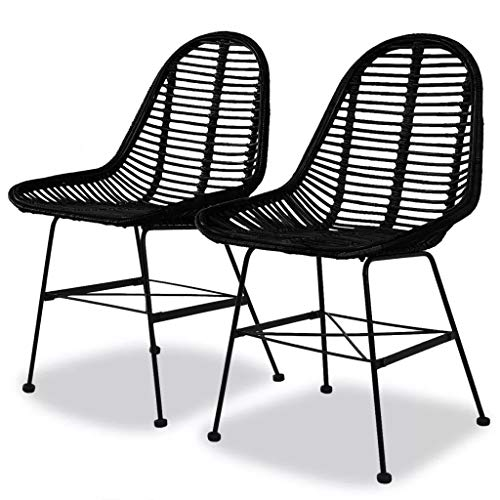 Cikonielf 2 sillas de jardín de ratán natural, sillas de relax con...