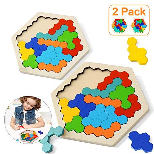 Sunshine smile 2 Stück Tangram Puzzle,Tangram Holz Kinder,sechseck-Puzzle,Geometrie Spielzeug,Montessori Spielzeug,lernspielzeug,denkaufgabe Spielzeug Holz,pädagogisches Geschenk für Kinder